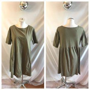 Zara Olive Green A Line Cotton Short Sleeve Dress
